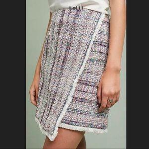 Hutch Anthropologie Tweed Fringed Asymmetric Skirt